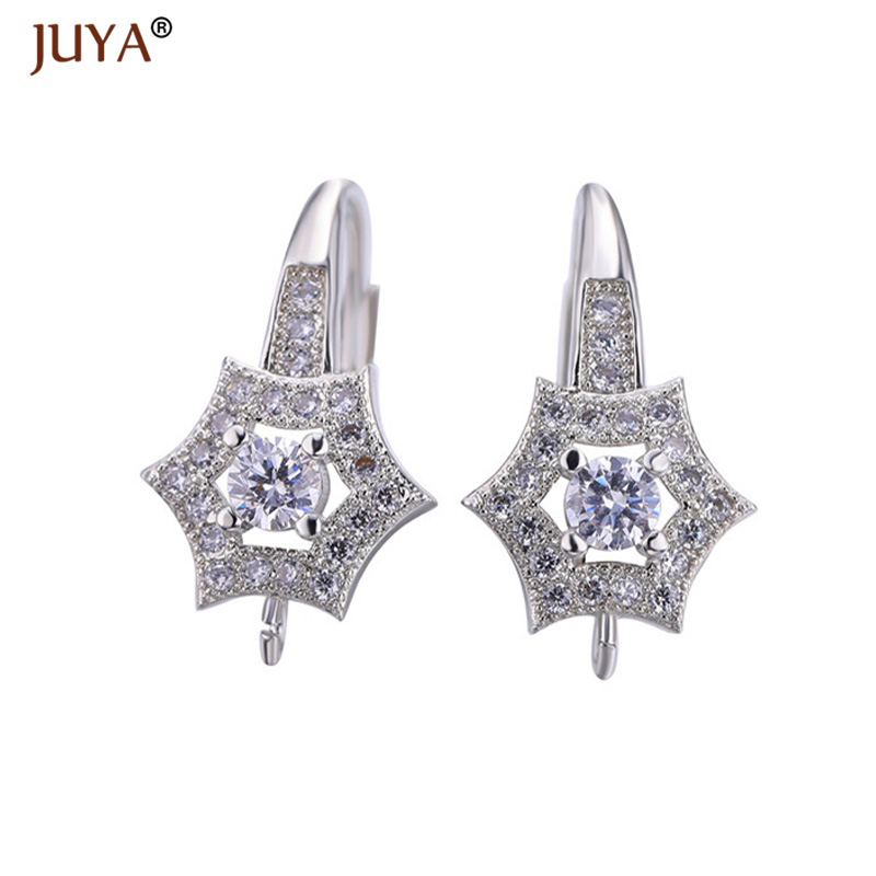Accessories For Earrings Making, Copper Inlaid Zircon Star Shape Earring Hook Clasp Part, Diy Making Jewelry
