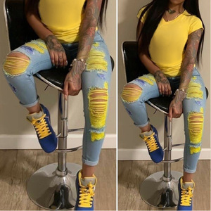 Echoine Summer Ripped Jeans For Women Clothes High Waisted Jeans Plus Size Jeans Vintage Distressed Jeans Pants Denim Trousers
