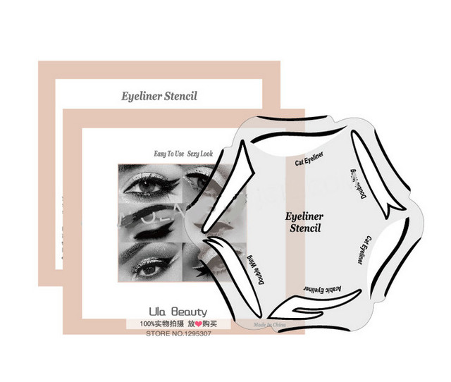 6 Style in  1 Makeup Cat Fish Tail Double Wing Eyeliner Stencil Kit Model for Eyebrows Template Fard a Paupiere Card 1