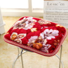 Winter warm non-slip bottom stool cushion thick plush student office cartoon flower square pad