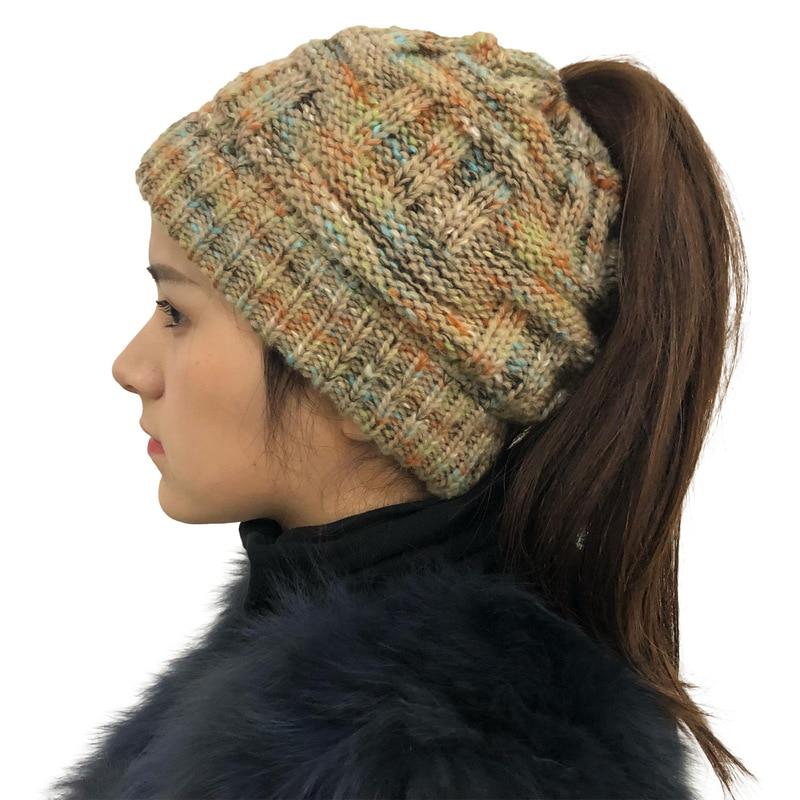 Helisopus Knit Ponytail Beanie Winter Hats For Women Woolen Cap Stretch Crochet Bun Hat Casual Soft Skullies Beanies