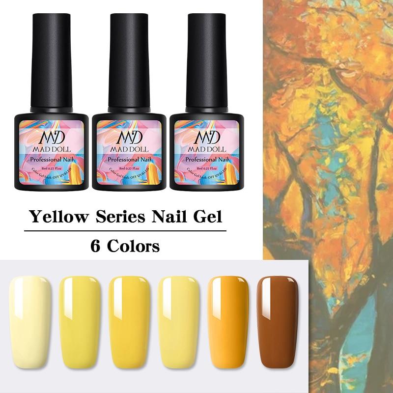 MAD DOLL 1 Bottle 8ml Yellow Series Gel Nail Polish Long Lasting Soak Off UV Gel Nail Varnish For Nail DIY Beauty Design