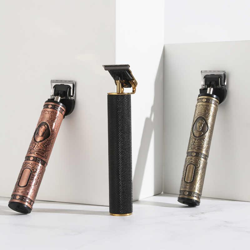 Barbershop, afeitadora inalámbrica de 0mm con cabeza en t, para hombres, cortador de pelo Digital de corte cerrado, afeitadora recargable, Buda