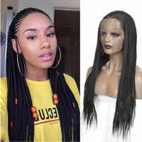 Caja trenzada larga trenzas peluca frontal de encaje sintético pelo de fibra resistente al calor pelucas de encaje negro sin pegamento para mujeres con pelo de bebé