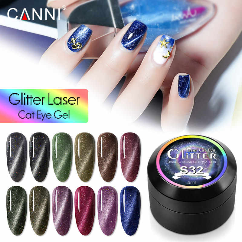 91208 CANNI Glitter Laser Cat Eye Gel Lacquer 5ml Baru Kuku Seni Manikur UV Chameleon Gel Varnish lukisan Cat Kuku