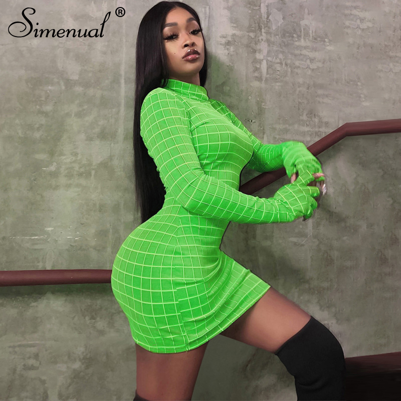 Simenual Fashion Plaid Women Dress Long Sleeve Turtleneck Sexy Hot Bodycon Dresses 2019 Autumn Skinny Basic Clubwear Mini Dress