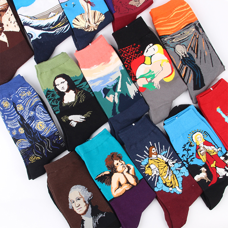 CRAZY FLY  Happy Socks Men Funny Art Dress Socks Color Lot Men Women  Autumn Winter Fashion Socks Set Print Van Gogh Art Socks