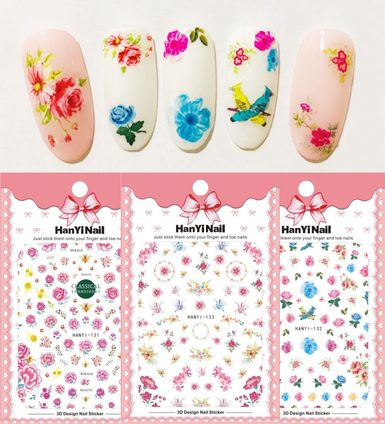HanYi131-133 Ultra-Thin Japanese-style 3D Nail Decals With Gum Nail Sticker Nail Ornament