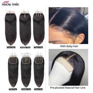 Image 3 - Ishow saç demetleri ile kapatma şeffaf dantel kapatma demetleri ile malezya düz saç demetleri ile kapatma olmayan Remy saç