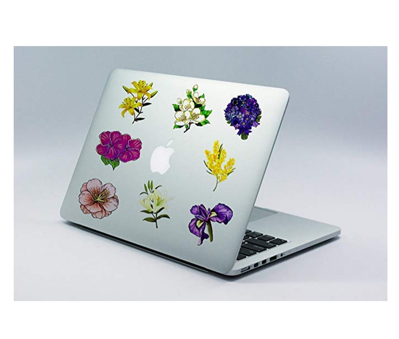 Image 5 - 50pcs spring flower stickers vinyl laptop skin plant floral sticker refrigerator suitcase sticker for MacBook Air Pro Retina/HP-in Laptop Skins from Computer & Office
