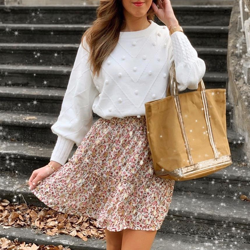 Misswim Elegant Pompon White Sweater Women Invierno 2019 Lantern Sleeve Knitted Sweater Female Pullover Ladies Jumper Streetwear