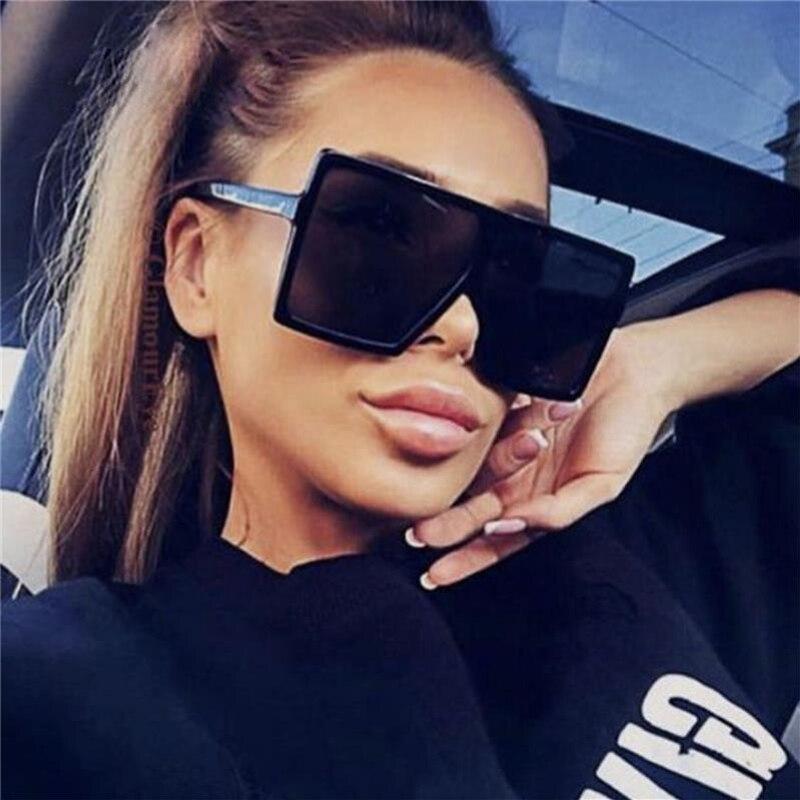 Oversized Sunglasses Square Plastic Vintage Fashion Women Brand Design UV400