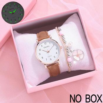 2021 NEW Women Watches Simple Vintage Small Watch Leather Strap Casual Sports Wrist Clock Dress Wristwatches Reloj mujer - 2PCS Watch Bracelet