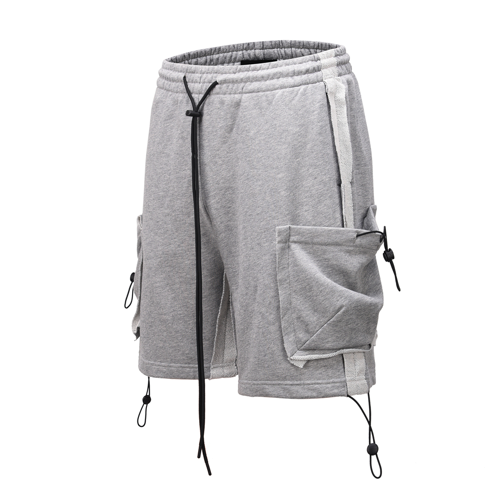 Reversed Patchwork Cargo Sweat Shorts Elastic Pockets Relaxed-fit Cotton Terry Streetwear