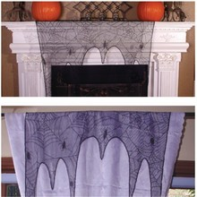 Hot Sale Halloween Spider Lace Window Curtains Table Runner Black Lace Lampshade Fireplace Curtain Halloween DecorCM