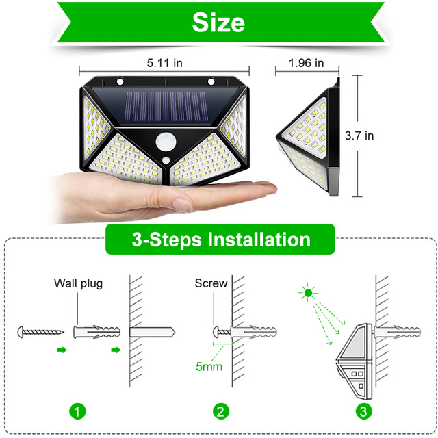 Goodland 100 LED Solar Light Outdoor Solar Lamp Powered Sunlight 3 Modes PIR Motion Sensor for Garden Decoration Wall Street 2