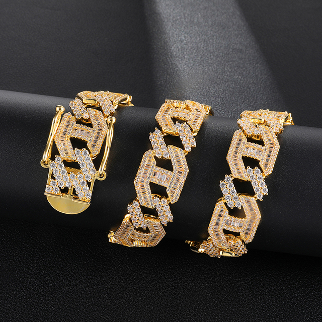 D&Z 1 Set Fashion Iced Out Bling Cubic Zircon Cuban Link Chain Necklace Men 15mm Hip Hop Paved CZ Miami Chain Collares