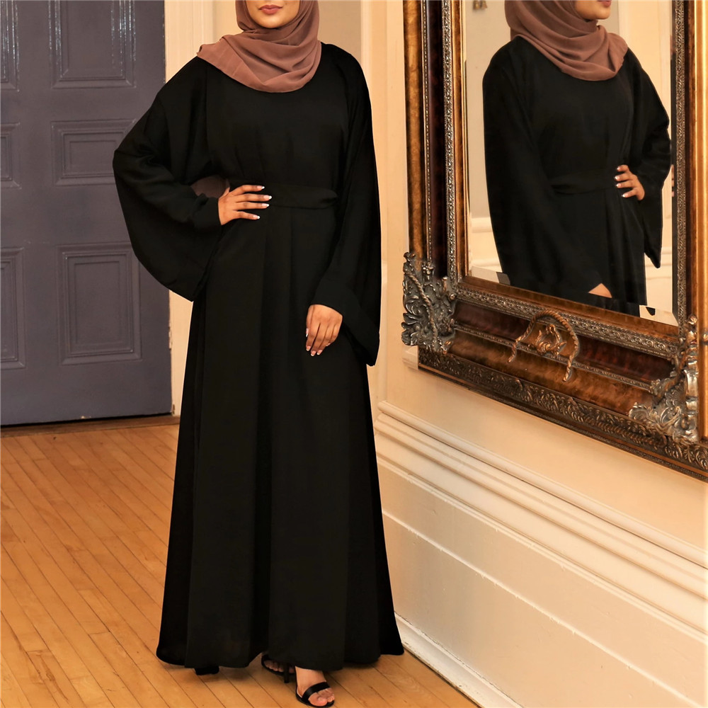 Muslim Fashion Dresses Islamic Women's Clothing Middle East Turky Solid Color Plus Size Long Dress Muslim Casual Arabic Dress 3