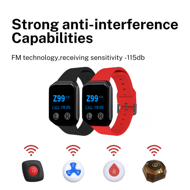 BYHUBYENG 2PCs Watches 5Pcs Buttons Wireless Waiter Calling Table System Receiver Pager Restaurant Equipments Nurse Alarm 6