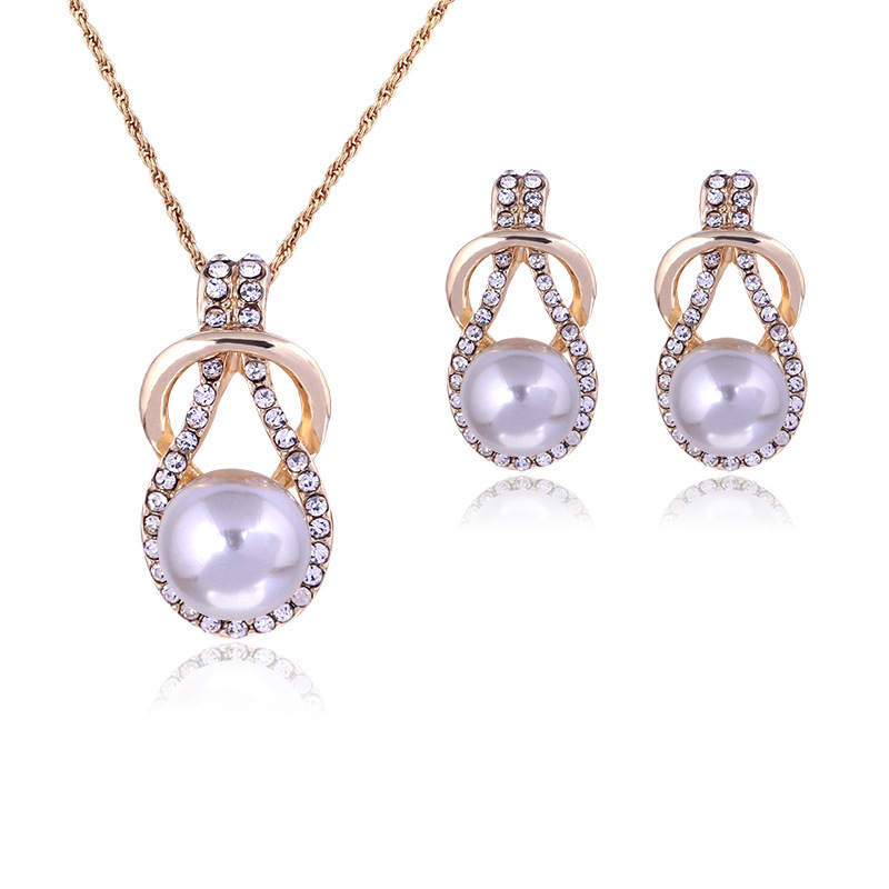 TY107 women's pearl rhinestone set necklace earrings wedding jewelry set