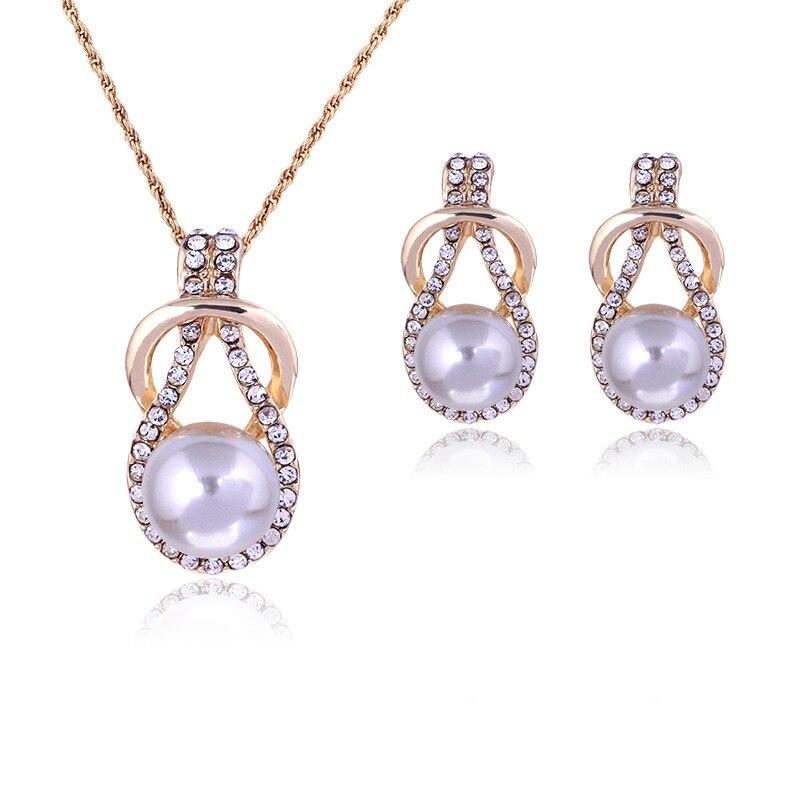 TY107 women's pearl rhinestone set necklace earrings wedding jewelry set