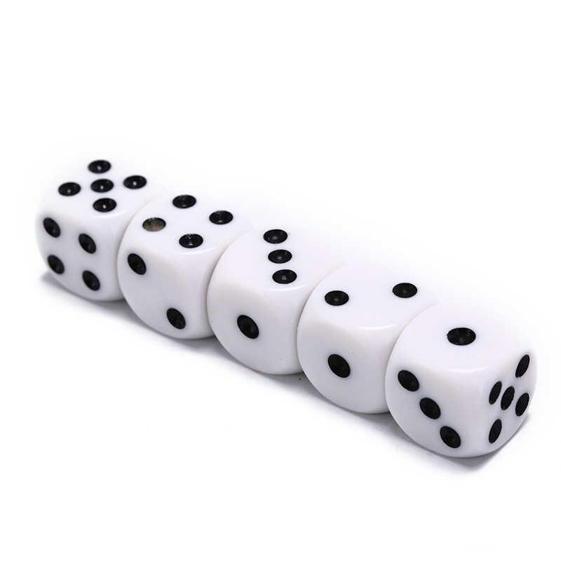 10mm/16mm dado para juegos de beber acrílico blanco esquina redonda dado hexaedro Club Party juegos de mesa juego de dados de juego de rol 5 unids/lote