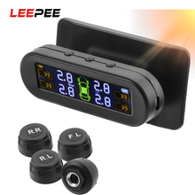 LEEPEE Car Tyre Pressure Monitor Solar TPMS Temperature Warning Fuel Save 4 External Sensors Tire Pressure Monitoring System