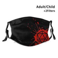 D20 Splatter многоразовая маска для лица с фильтрами для детей Splatter D20 D20 Dice Rpg Dnd Dragon ролевые игры