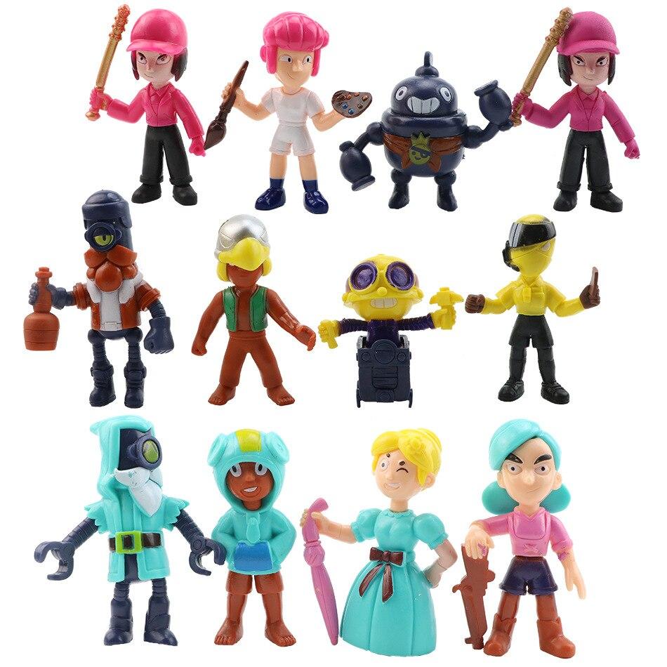 12 pçs/lote novo jogo brawl figura brinquedos amine star hero shelly colt jessie collectiable crianças meninos meninas brinquedo presente de aniversário