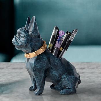 Pies figurka z żywicy obsadka do pióra ORGANIZER na biurko akcesoria biurowe biurko ze schowkiem pojemnik na ołówki na biurko długopis CRAFT prezent tanie i dobre opinie CN (pochodzenie) SILICONE Polyresin