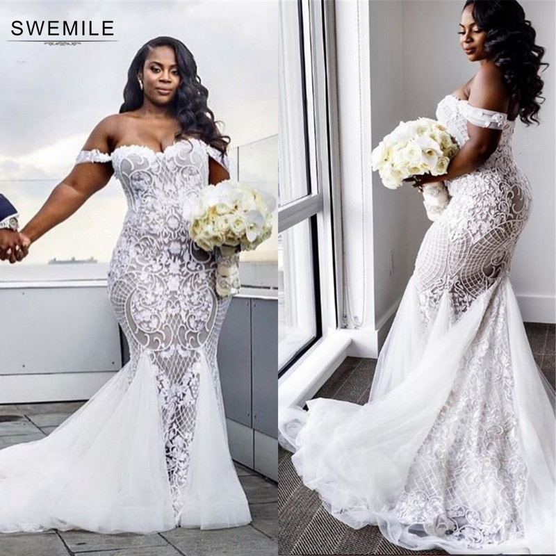 Romantic Mermaid Lace Wedding Dresses 2019 Vestido De Noiva Sexy Up Back Cap Sleeve Bride Dress Robe Mariee