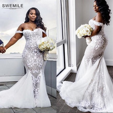 Romantic Mermaid Lace Wedding Dresses 2019 Vestido De Noiva Sexy Up Back Cap Sleeve Bride Dress Robe Mariee