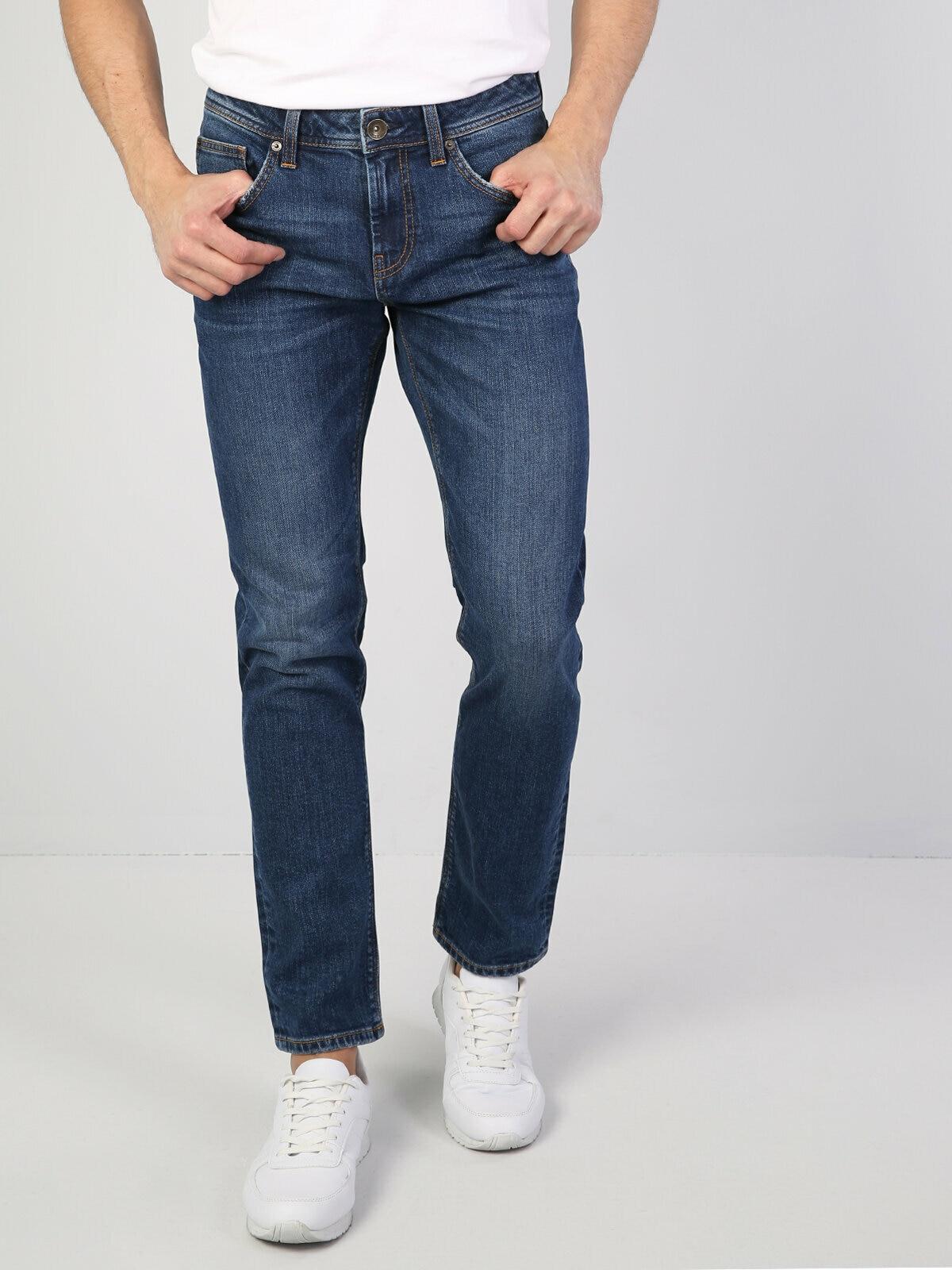 Colins Men 44 Karl Straight Fit Blue Low Rise Straight Leg Jean Pantsmen's trousers men's