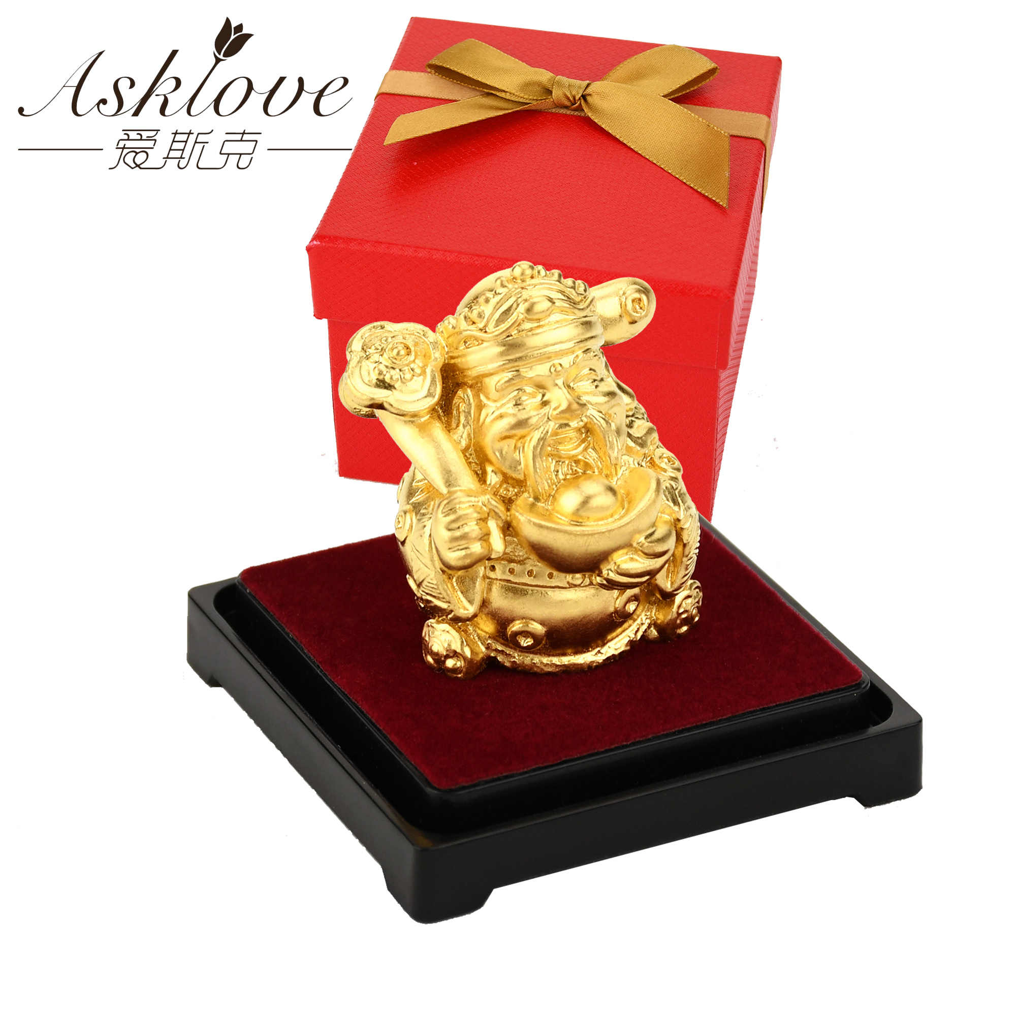The god of wealth Feng shui decor 24K Gold Foil Statue Wealth God Office Ornament Crafts Collect Wealth Home Office Decoration
