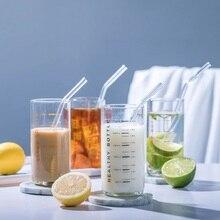 Glass Graduated Cup Heat-resistant Beaker Mug Transparent Thicken Juice Tea Cups Childrens Milk Breakfast Mugs Home Drinkware