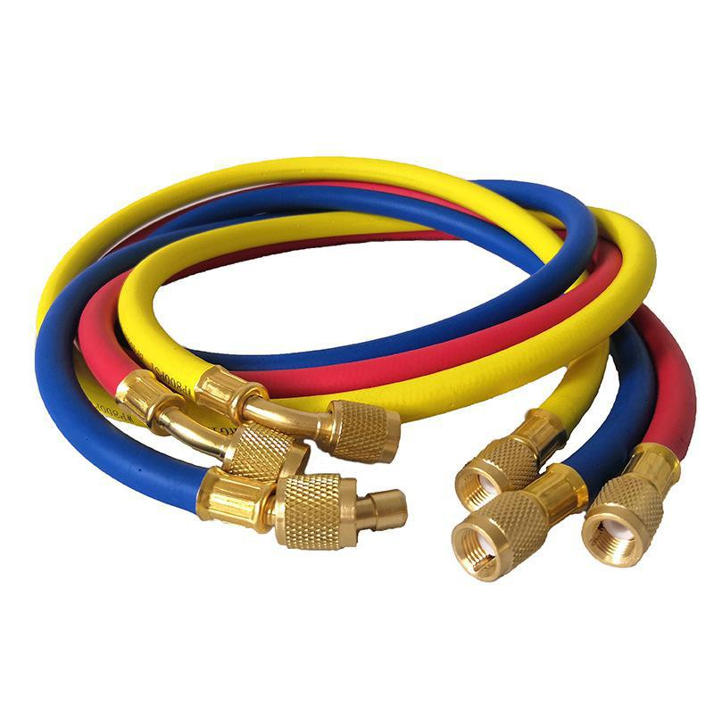 3pcs 1.5m Refrigeration Charging Hoses 1/4in SAE Female Manifold Gauge Set for r R134a R410a <font><b>R22</b></font> R12 R502 <font><b>Air</b></font> <font><b>Conditioner</b></font> Tools image