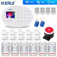 Kerui w20 wi fi gsm casa alarme de segurança sem fio do assaltante casa inteligente iso android controle app Kits de sistema de alarme Segurança e Proteção -
