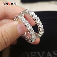 Oevas сверкающие создан Муассанит Серьги кольца для женщин Одежда