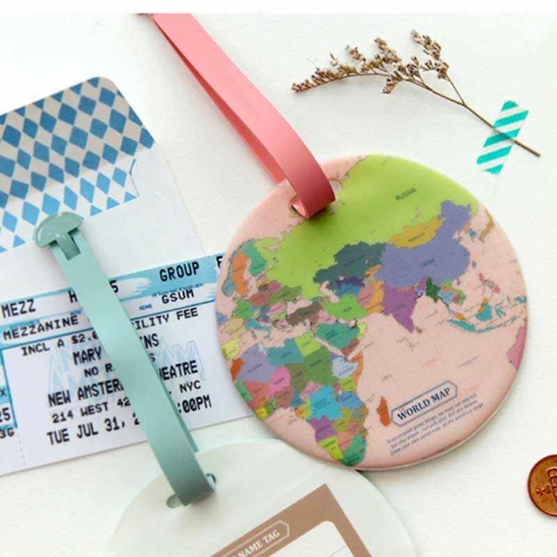 Etiqueta de viaje para equipaje del mapa del mundo en 4 colores, etiqueta de PU para maleta, soporte de identificación, etiqueta portátil para equipaje de viaje