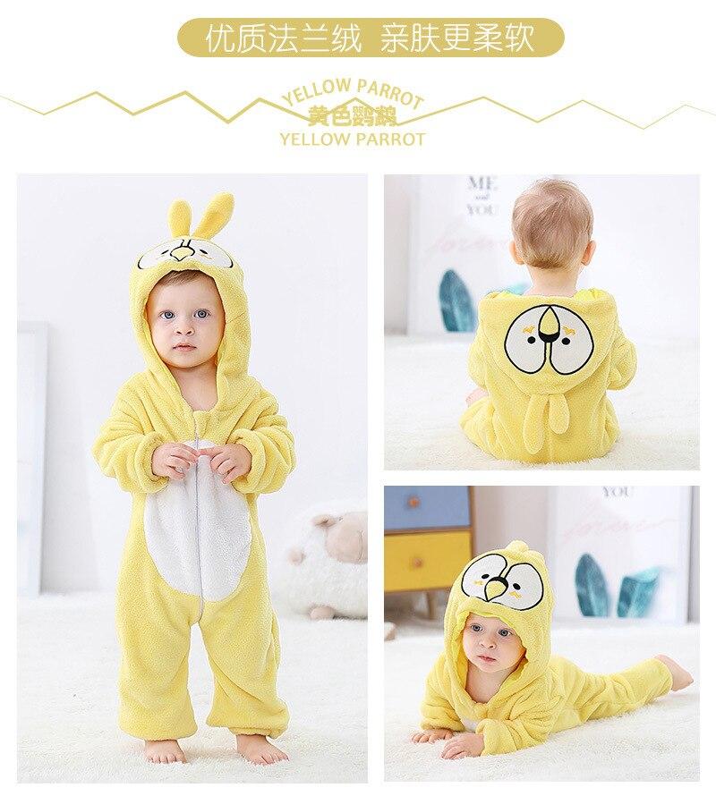 H3b6fd04975564fba833fc66fa88c3f66m Cute Cartoon Flannel Baby Rompers Novelty Rabbit Cotton Baby Boys Girls Animal Rompers Stitch Baby's Sets kigurumi New born 2019