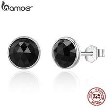 BAMOER-pendientes de tuerca de gota de plata de ley 100% para mujer, aretes de cristal negro, joyería de plata de ley 925, PAS523