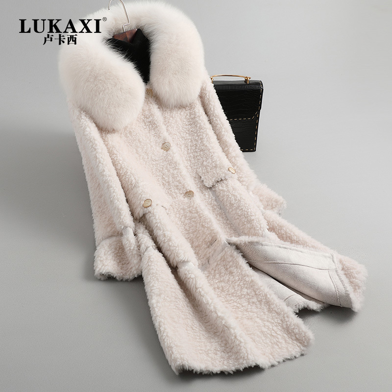 Natural Sheep Shearing Jacket Large Fox Fur Hooded Women Winter Real Fur Coat Female Ladies Long Wool Coats Hiver AL-108