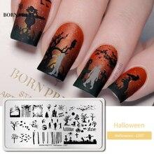 Geboren Pretty Halloween Nail Art Stempelen Plaat Pompoen Kerst Patroon Image Template Festival Nieuwjaar Nagels Stencil