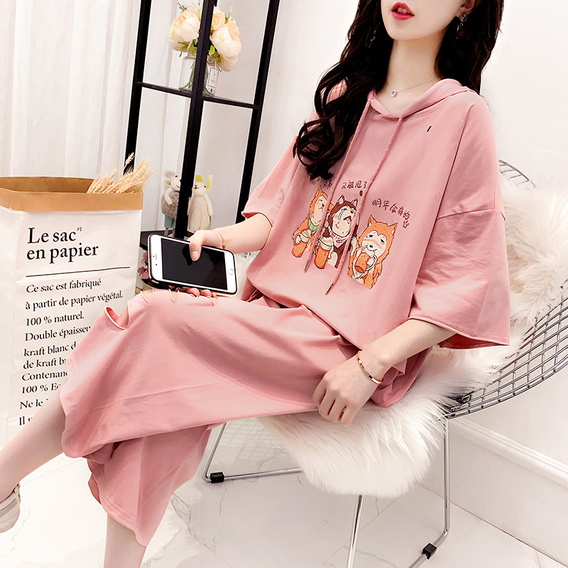 Hipster T-shirt Suit Summer Wear For Women INS Super Fire CEC Online Celebrity Loose-Fit Western Style Capri Pants With Holes Tw
