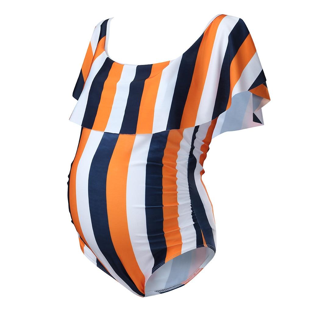 Женские купальники, женские Танкини для беременных, в полоску, бикини, купальник, пляжная одежда с оборками, костюм для беременных женщин, Прямая поставка