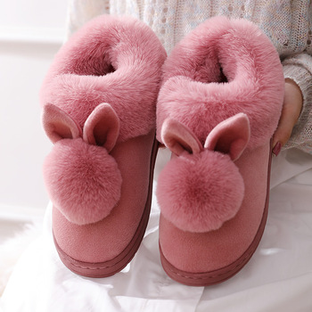 2021 New Fashion Autumn Winter Cotton Slippers Rabbit Ear Home Indoor Slippers Winter Warm Shoes Womens Cute Plus Plush Slippers 5