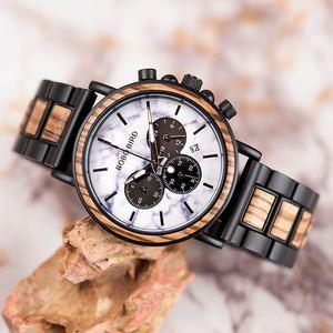 Image 3 - בובו ציפור relogio masculino יוקרה גברים שעון מתכת עץ הכרונוגרף שעוני יד קוורץ שעון מותאם אישית חג המולד מתנה
