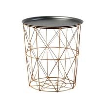 Storage-Basket Tea-Table Round-Wire Balcony-Corner Metal Modern Gold Bedroom