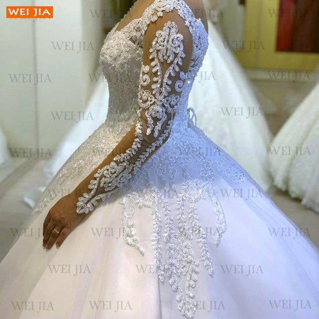 Luxury White Wedding Gowns 2021 Long Sleeves Lace Up Vestido De Noiva Appliqued Organza Ball Gown Bride Dresses Abito Da Sposa 6
