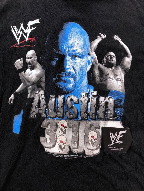 Vintage WWF Stone Cold Steve Austin 316 Black Graphic T-shirt Size Large Cool Casual pride t shirt men Unisex Fashion tshirt(China)